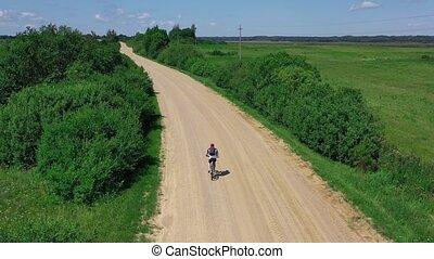 pays, sablonneux, promenades, route, vélo, homme