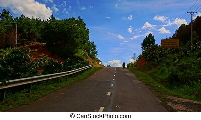 pays, scooter, vallonné, appareil photo, route, suit, long, paysage