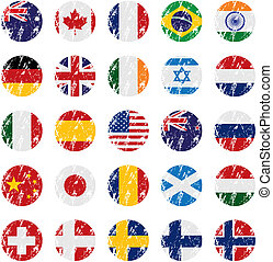 pays, style, grunge, drapeau, icônes