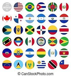 pays, tout, amérique, drapeaux
