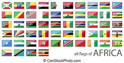 pays, tout, drapeaux, afrique