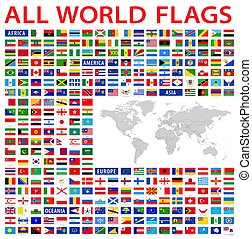pays, tout, drapeaux, mondiale