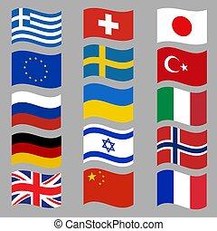 pays, vecteur, drapeaux, flags., national