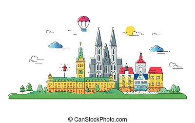 pays, voyage, -, illustration, vecteur, ligne, européen