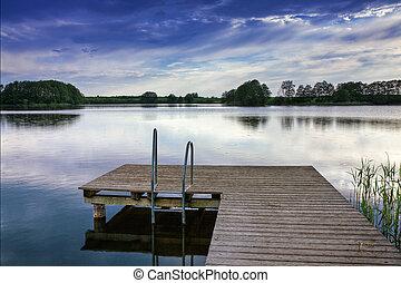 paysage, à, a, bateau, sur, a, lake.
