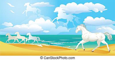paysage, à, chevaux, et, nuages