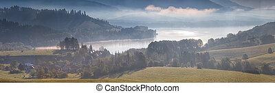 paysage, à, lac montagne