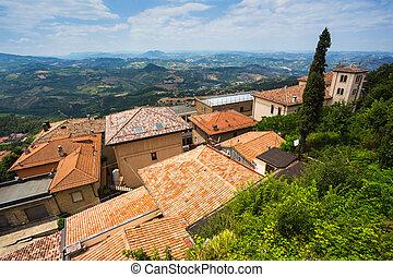 ville italie toits toscane paysage petit montalcino image recherchez photos clipart. Black Bedroom Furniture Sets. Home Design Ideas