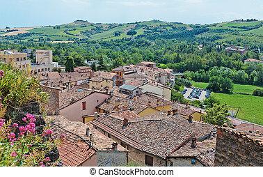 ville italie toits toscane paysage petit montalcino vue. Black Bedroom Furniture Sets. Home Design Ideas