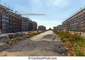 paysage, échafaud, secteur, maisons, logement, beau
