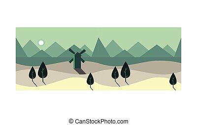paysage, été, arbres, temps, champ, vecteur, vert, illustration, nuit, éclairé par la lune, éolienne, paysage