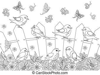 paysage, été, coloration, barrière, oiseaux, livre, ton, heureux