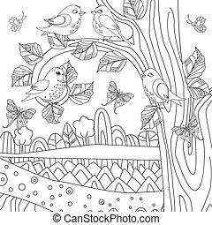paysage, été, coloration, nature, oiseaux, livre, ton, heureux