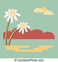 paysage, été, paumes, résumé, bord mer, exotique, conception