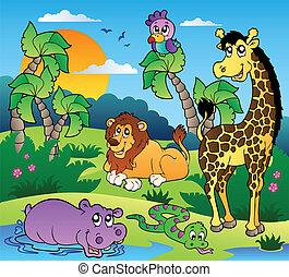 paysage, 1, animaux, africaine