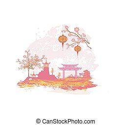 paysage abstrait, asiatique, carte