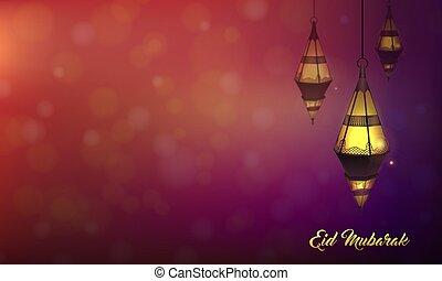 paysage, advertisement., islamique, bokeh, mubarak, fond couleur, pourpre, gabarit, lampe, lanterne, eid