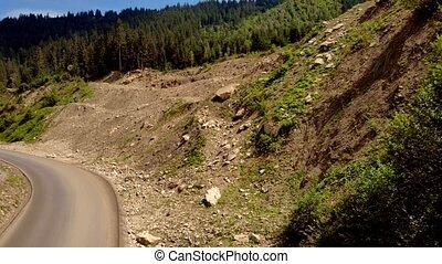 paysage, alpin, route, montagne, long, slope.
