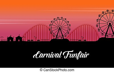 paysage, amusement, silhouette, foire, carnaval