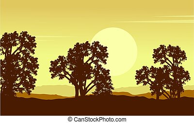 paysage, arbre, colline, collection