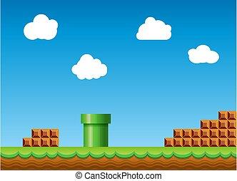 paysage, arrière-plan., classique, conception, vidéo, vieux, jeu, style, retro