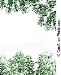 paysage., arrière-plan., hiver, neige