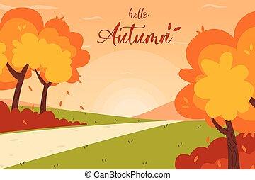 paysage, arrière-plan., ruelle, park., automne