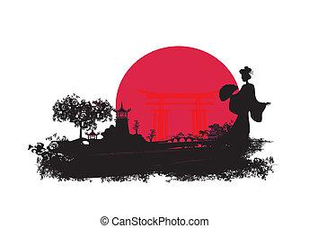 paysage, asiatique, résumé
