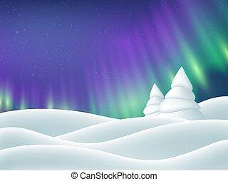 paysage., aurore boréale, hiver