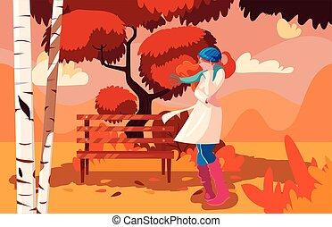 paysage automne, femme, parc, chaise