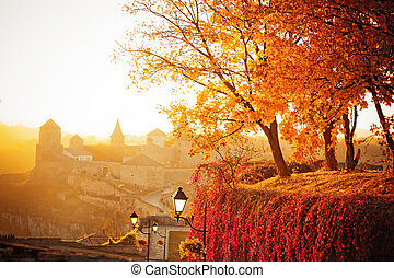 paysage automne, fond, forteresse