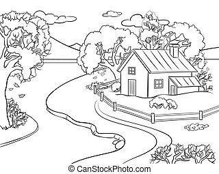 paysage automne, livre coloration, vecteur