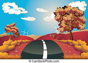 paysage automne, route