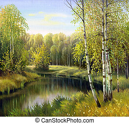 paysage automne, toile, huile