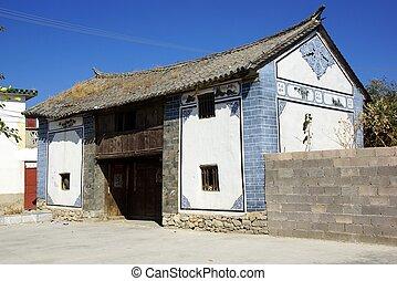 paysage, autour de, yunnan, lac, dali, porcelaine, erhai, rural, province