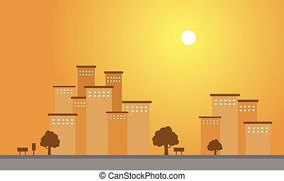 paysage, bâtiment, silhouette, coucher soleil