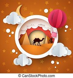 paysage., balloon, étoile, moon., air, soleil, dessin animé, nuage, désert