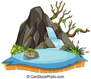 paysage, blanc, chute eau, isolé, fond