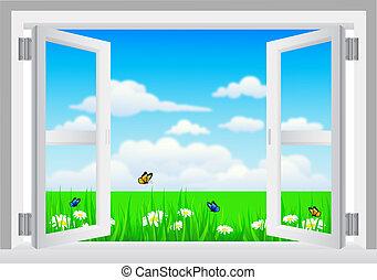 paysage, blanc, ouvrir fenêtre