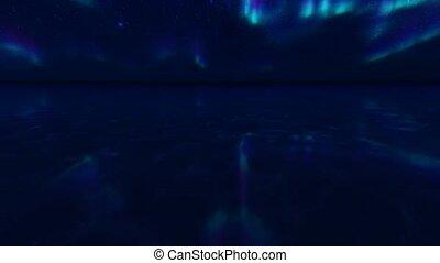 paysage., borealis., nord, lumière, canada, océan, nord, océan, arctique, water., alaska, lumières, lumières, nuit, pole., hiver, aurore, paysage, arrière-plan., mer