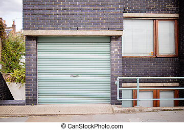 paysage, brique, garage, sombre, couleur, vue, porte, bâtiment