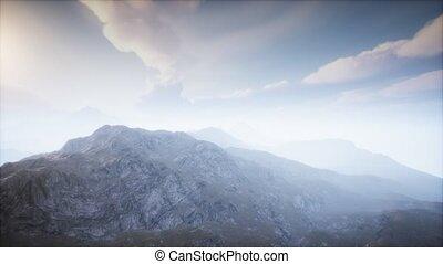 paysage, brouillard, volcan, cratère