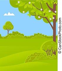 paysage, buissons, printemps, arbres, herbe, vert