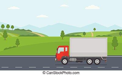 paysage., camion, asphalte, champs, vert, en mouvement, rural, long, route
