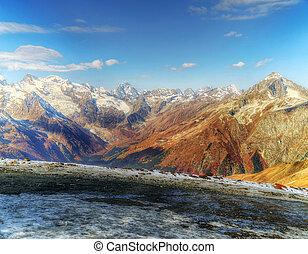 paysage, caucase, région, rockies, dombai., russie