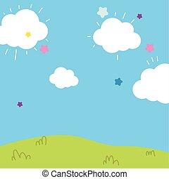 paysage, champ ciel, dessin animé, nuages, étoiles, fond