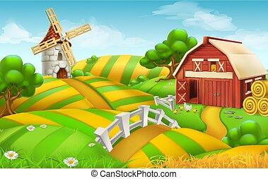 paysage, champ ferme, vecteur, fond, 3d