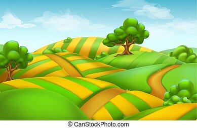 paysage., champ ferme, vecteur, fond, 3d