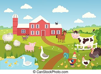 paysage., cheval, animaux, sheep., ferme, canard, poulets, scène, book., cochon, fond, village, dessin animé, enfants