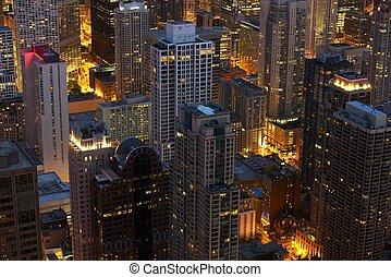 paysage, chicago, nuit